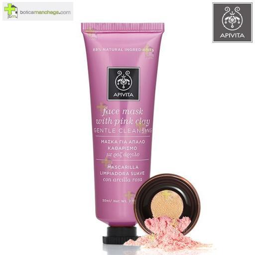 APIVITA Mascarilla Facial Limpiadora Suave con Arcilla Rosa Face Mask Pink Clay, 50 ml