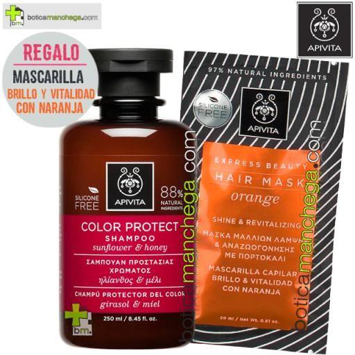 PROMO Champú Protector del Color con Girasol y Miel, 250 ml. REGALO: Mascarilla Capilar Brillo y Vitalidad con Naranja, 20 ml