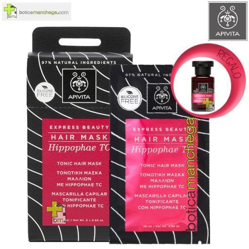 Apivita Mascarilla Capilar Tonificante con Hippophae TC Express Beauty Hair Mask, 20 ml. REGALO: Champú Tonificante Cuidado Capilar Holístico, 20 ml