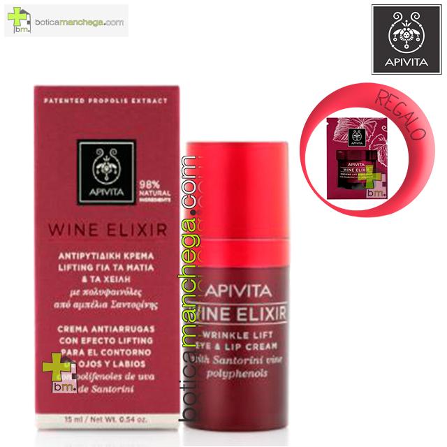 Wine Elixir Crema Antiarrugas con Efecto Lifting para el Contorno de Ojos y Labios con polifenoles de uva de Santorini y Acacia, 15 ml. REGALO: Producto Nueva Línea Apivita Wine Elixir a Elegir, 2 ml