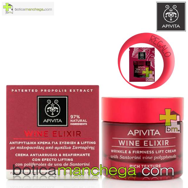 Wine Elixir Crema Textura Rica Antiarrugas y Reafirmante con Efecto Lifting con polifenoles de uva de Santorini, 50 ml. REGALO: Producto Nueva Línea Apivita Wine Elixir a Elegir, 2 ml