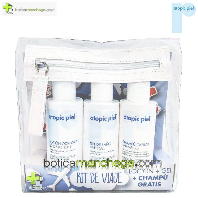 Atopic Piel Kit de Viaje: Loción Corporal + Gel de Baño + Champú Gratis