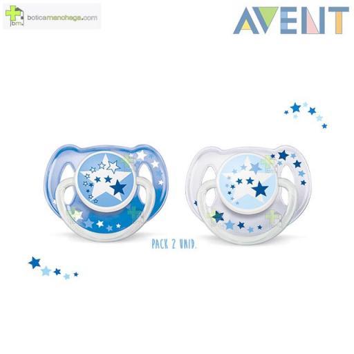 Pack 2 Chupete 6-18M NOCHE Philips Avent Anilla Luminiscente Tetina Silicona