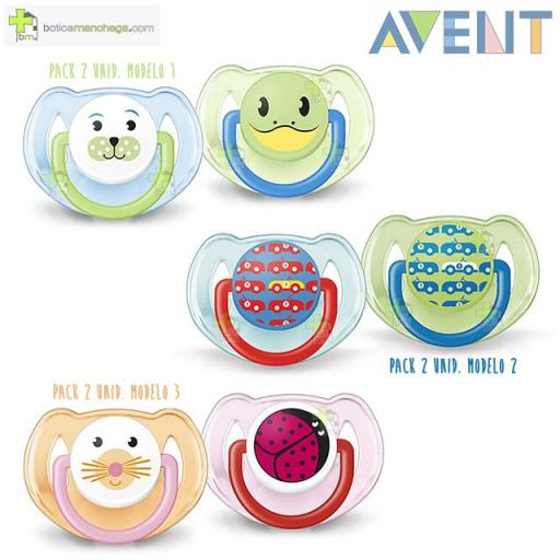 Pack 2 Chupetes 6-18M Philips AVENT Tetina Silicona Decorados