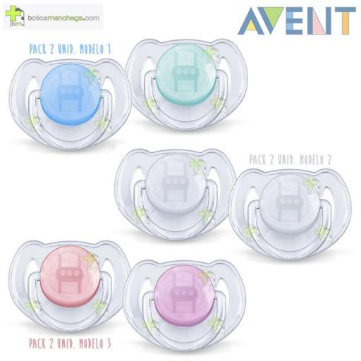 Pack 2 Chupete 6-18M Philips AVENT Tetina Silicona Translúcidos