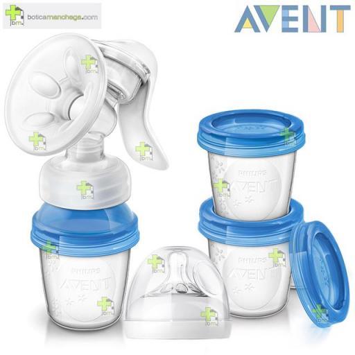 Philips Avent Extractor Manual Confort con Recipientes de Almacenamiento para leche materna