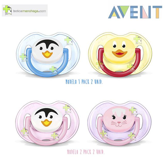 Pack 2 Chupetes 0-6M Philips AVENT Tetina Silicona Deco Animales