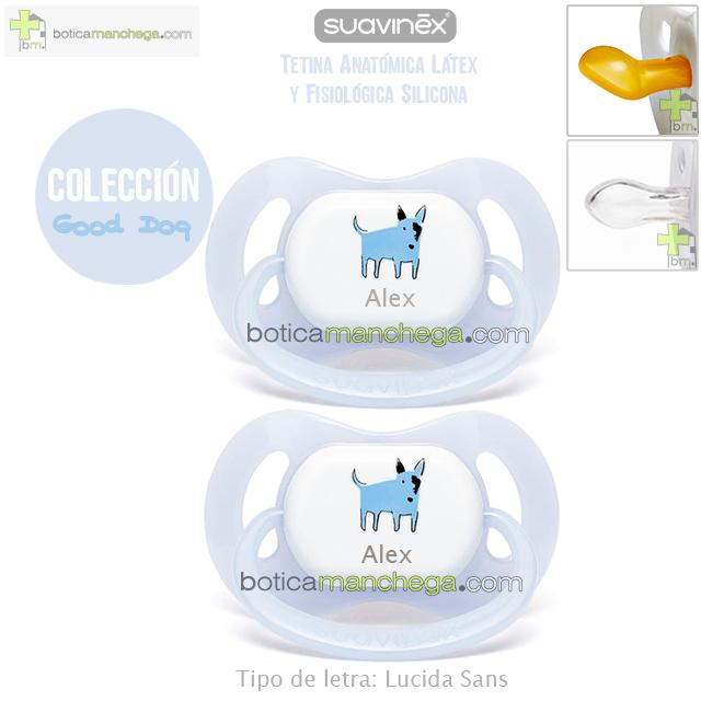 Suavinex Pack 2 Chupetes Personalizados Colección Good Dog, Modelo Azul Bull Terrier, Tetina Anatómica Látex o Fisiológica Silicona