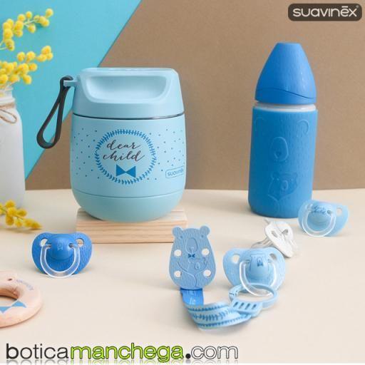 Biberón Vidrio 240 ml +0M Suavinex Tetina Redonda 3 Posic. Colección Meaningful Life con Funda Silicona Color Azul [1]