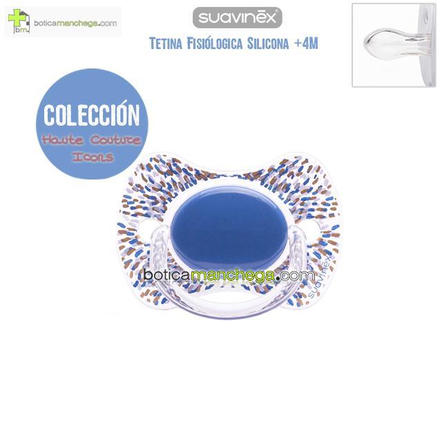 Chupete PREMIUM +4M Tetina Fisiológica Silicona Suavinex Haute Couture Icons Modelo Azul