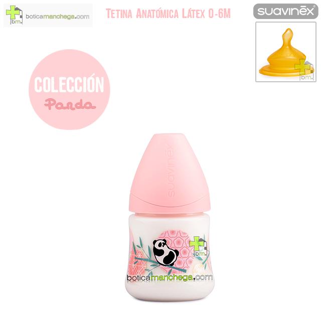 Biberón Látex 150 ml 0-6M Suavinex Tetina Anatómica T1 M, Modelo Panda Color Rosa