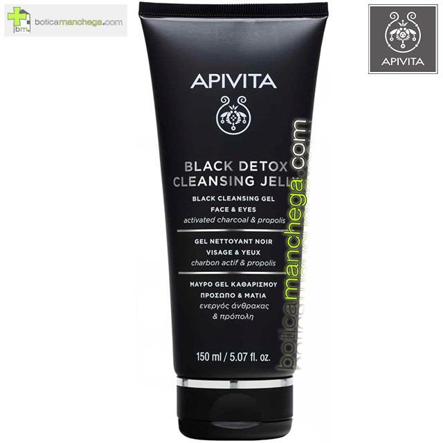 Gel Limpiador Negro Apivita Cleansing Rostro y Ojos con Propóleo y Carbón Activo, 150 ml