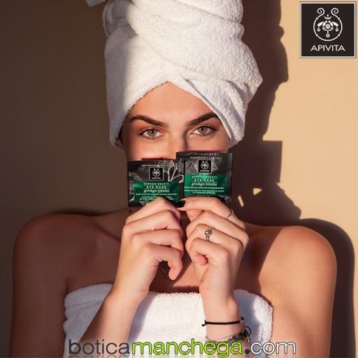 Mascarilla para el Contorno de ojos, ojeras, bolsas  y signos de fatiga con Ginkgo Biloba Express Beauty Eye Mask Apivita, 2 x 2 ml [1]