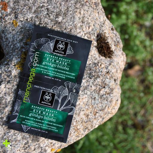 Mascarilla para el Contorno de ojos, ojeras, bolsas  y signos de fatiga con Ginkgo Biloba Express Beauty Eye Mask Apivita, 2 x 2 ml [2]