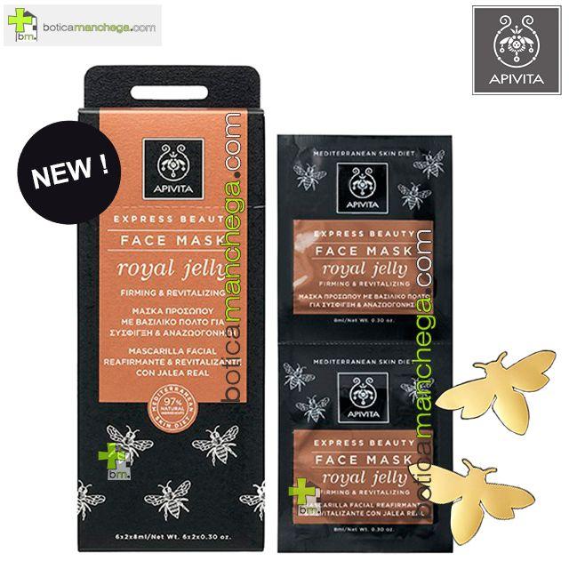 Apivita Mascarilla Facial Reafirmante y Revitalizante con JALEA REAL Express Beauty Royal Jelly, 2 x 8 ml