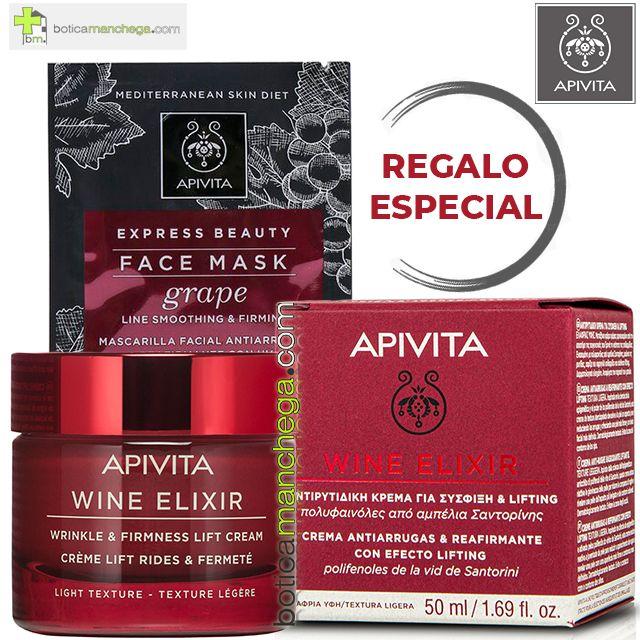 PROMO Wine Elixir Crema Textura Ligera Antiarrugas y Reafirmante con Efecto Lifting Apivita con polifenoles de uva de Santorini, 50 ml + REGALO ESPECIAL: Mascarilla Facial, 8 ml