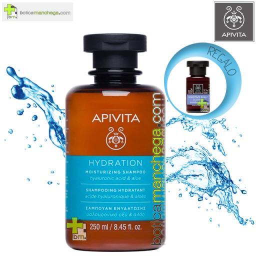 Champú Hidratante Apivita con Ácido Hialurónico y Aloe 250 ml + Champú Cuidado Capilar Holístico A Elegir 20 ml