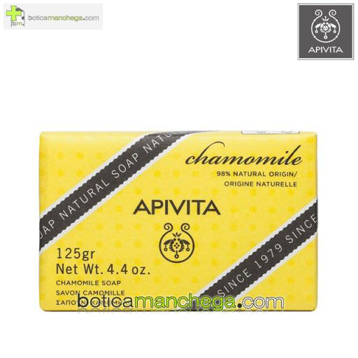 Jabón Natural Camomila Apivita Natural Soap Chamomile, 125g