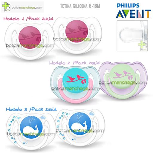 Pack 2 Chupete 6-18M Philips Avent Tetina Silicona Deco Animales