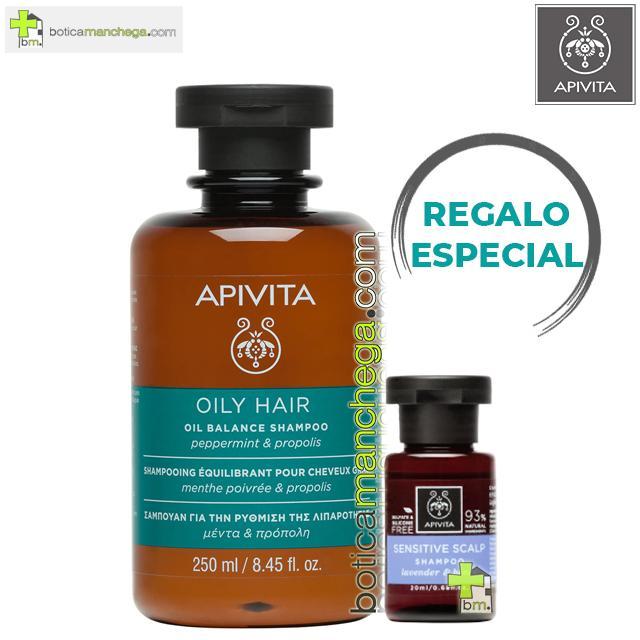Champú Equilibrante para cabello graso con Menta y Propóleo Apivita, 250 ml. REGALO: Cuidado Capilar Holístico a Elegir, 20 ml