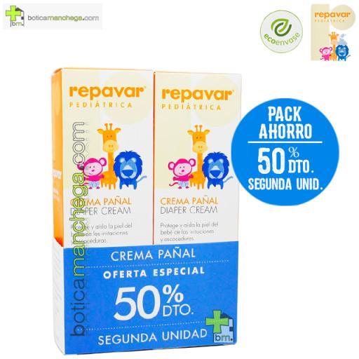 Repavar Pediátrica Crema Pañal OFERTA ESPECIAL 50% DTO. Segunda Unidad, 2 x 75 ml