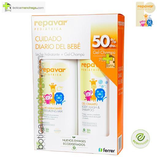 Promo Cuidado Diario del bebé: Leche Hidratante + 50% dto. Gel-Champú 750 ml Repavar Pediátrica [0]