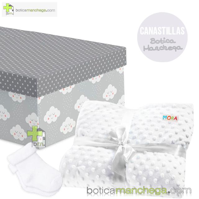 Set Bebé para Canastilla Mod. Nubes Blanco / Gris