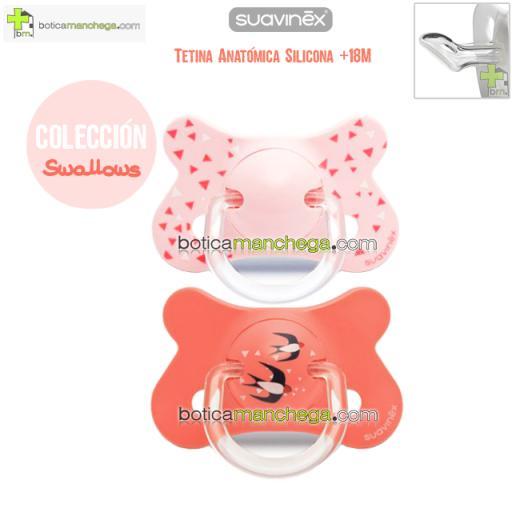 Pack 2 Chupetes Fusion +18M Suavinex Colección Swallows Mod. Golondrinas Color Coral/Rosa, Tetina Anatómica Silicona