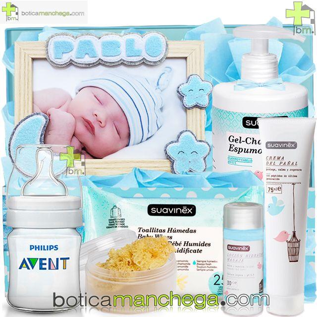 Canastilla SWEET NIGHT Azul Personalizada con el nombre del Bebé Botica Manchega