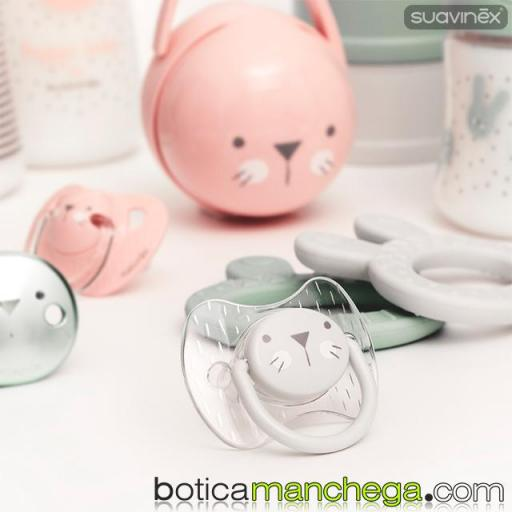 Chupete Premium 6-18M Suavinex Colección Hygge Baby Mod. Transparente/Gris, Tetina Fisiológica Silicona [1]