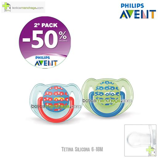 PROMO- Pack 2 Chupetes 6-18M Tetina Silicona Philips Avent Classic Mod. Coches, 2º Pack -50% Descuento