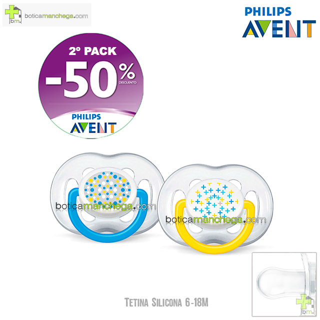 PROMO- Pack 2 Chupetes 6-18M Tetina Silicona Philips Avent Mod. Ventilados Deco, 2º Pack -50% Descuento