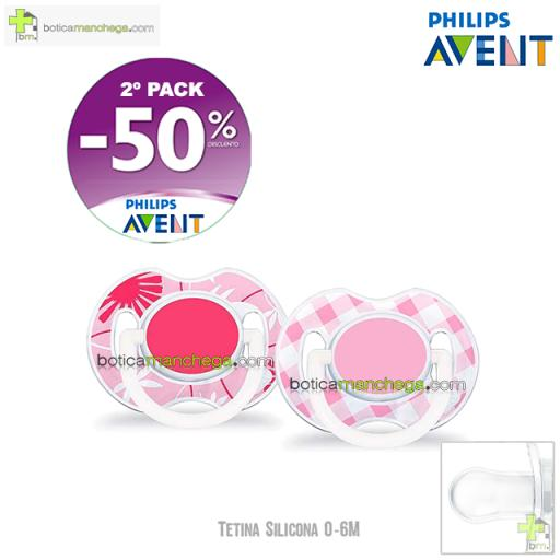PROMO- Pack 2 Chupetes 0-6M Tetina Silicona Philips Avent Mod. Classic Deco Rosa, 2º Pack -50% Descuento