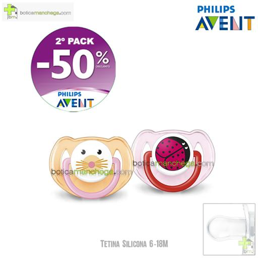 PROMO- Pack 2 Chupetes 6-18M Tetina Silicona Philips Avent Mod. Deco Animales, 2º Pack -50% Descuento