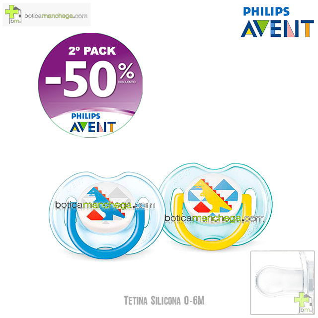 PROMO- Pack 2 Chupetes 0-6M Tetina Silicona Philips Avent Fashion Mod. Dino, 2º Pack -50% Descuento