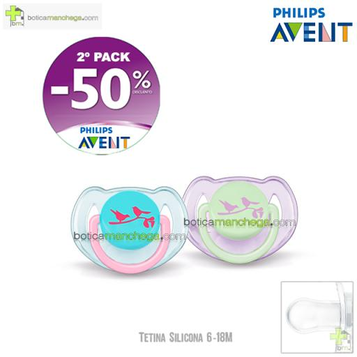 PROMO- Pack 2 Chupetes 6-18M Tetina Silicona Philips Avent Mod. Pájaros, 2º Pack -50% Descuento