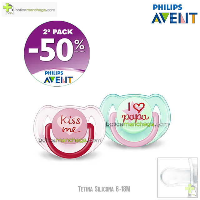 PROMO- Pack 2 Chupetes 6-18M Tetina Silicona Philips Avent Mod. Kiss Me + I Love Papá, 2º Pack -50% Descuento
