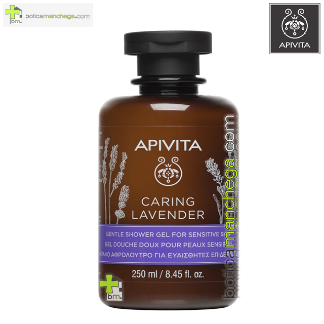 CARING LAVENDER Gel de Ducha Suave para Pieles Sensibles / Hipoalergénico Apivita, 250 ml