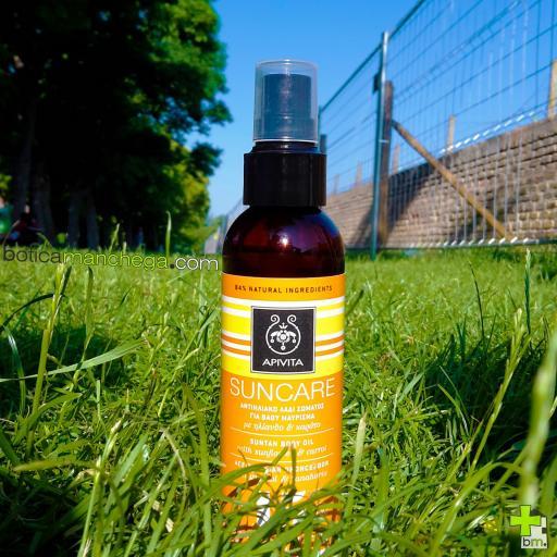 Aceite bronceador corporal SPF15 Apivita Suncare con Girasol y Zanahoria, 150 ml. REGALO: Producto Facial Línea Apivita Suncare a Elegir, 2 ml [1]