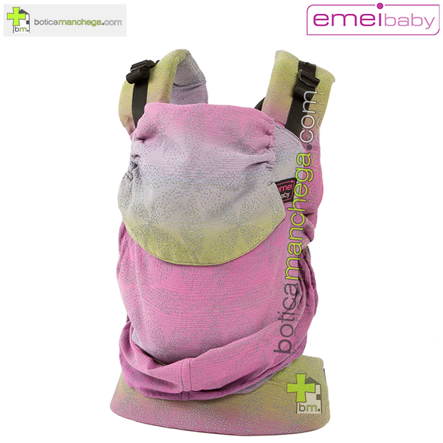 Emeibaby Mochila Portabebés Ergonómica Evolutiva, Modelo Baali Rainbow Gris/Rosa