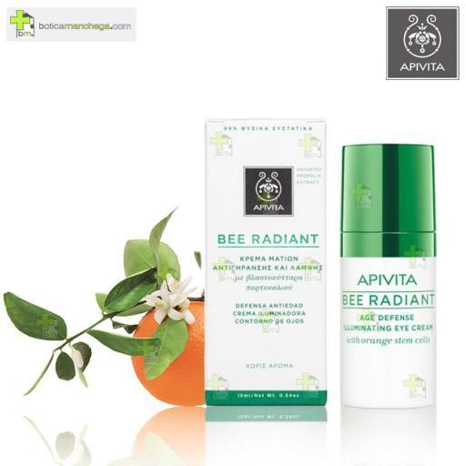 Apivita Bee Radiant Defensa Antiedad Crema Iluminadora Contorno de Ojos, 15 ml + REGALO: Facial Apivita a Elegir, 2 ml