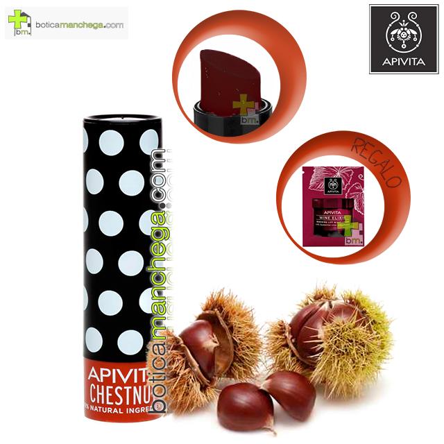 Bálsamo Labial con Castaña Hidratación y Color Lip Care Chestnut Apivita. REGALO: Producto Nueva Línea Apivita Wine Elixir a Elegir, 2 ml