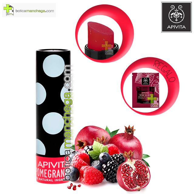 Bálsamo Labial con Granada Hidratación y Color Lip Care Pomegranate Apivita. REGALO: Producto Nueva Línea Apivita Wine Elixir a Elegir, 2 ml