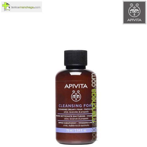 Mini Crema Espuma Limpiadora Rostro y Ojos Cleansing Foam Apivita con Propóleo, Oliva y Lavanda, 75 ml