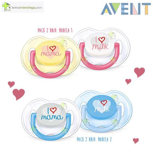 Pack 2 Chupetes 0-6M MAMÁ Philips AVENT te quiero Tetina Silicona
