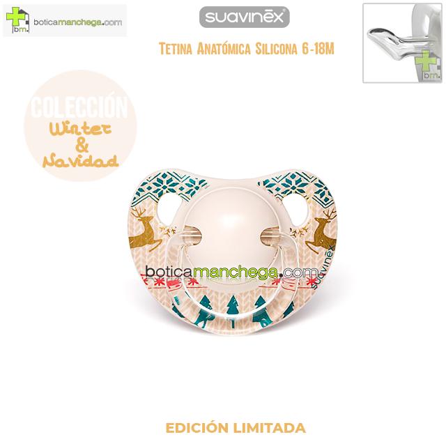 Chupete WINTER/NAVIDAD 6-18M Suavinex Modelo Winter Wishes Blanco/Dorado Edición Limitada, Tetina Anatómica Silicona