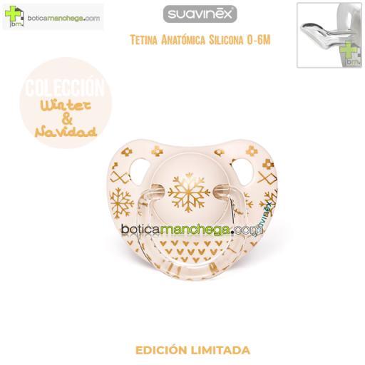 Chupete WINTER/NAVIDAD 0-6M Suavinex Modelo Winter Wishes Blanco/Dorado Edición Limitada, Tetina Anatómica Silicona