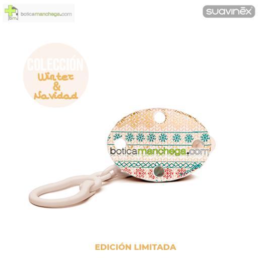 Broche Clip Ovalado Modelo Blanco/Dorado Winter Wishes Colección WINTER/NAVIDAD Edición Limitada Suavinex +0M