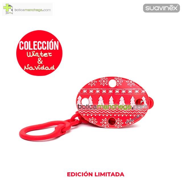 Broche Clip Ovalado Modelo Rojo/Blanco Winter Wishes Colección WINTER/NAVIDAD Edición Limitada Suavinex +0M