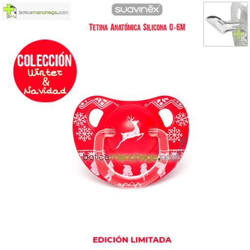 Chupete WINTER/NAVIDAD 0-6M Suavinex Modelo Winter Wishes Rojo/Reno Blanco, Tetina Anatómica Silicona